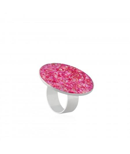 Anillo en plata Atenea con nácar rosa