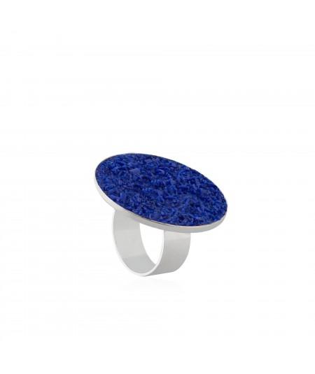 Anillo de plata Selene con nácar azul