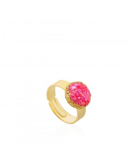 Anillo oro Doll con nácar rosa