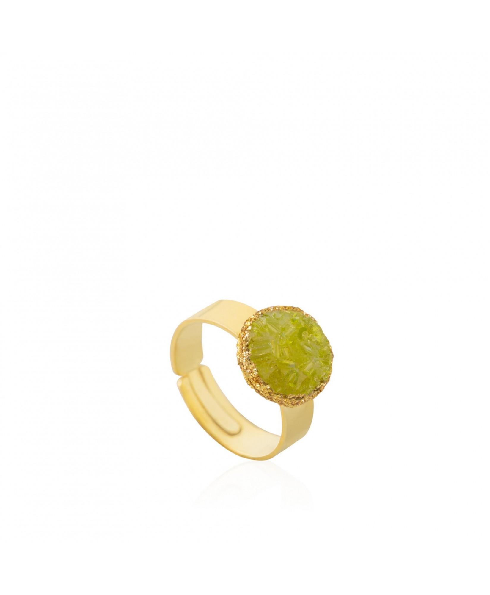 Anillo oro Olivine con piedra verde olivina Anillo oro Olivine con piedra verde olivina
