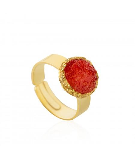 Anillo oro Love con nácar rojo