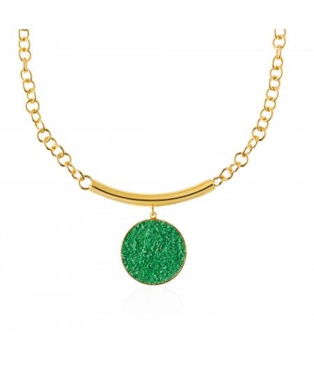 Collar oro Demeter con colgante de nácar verde