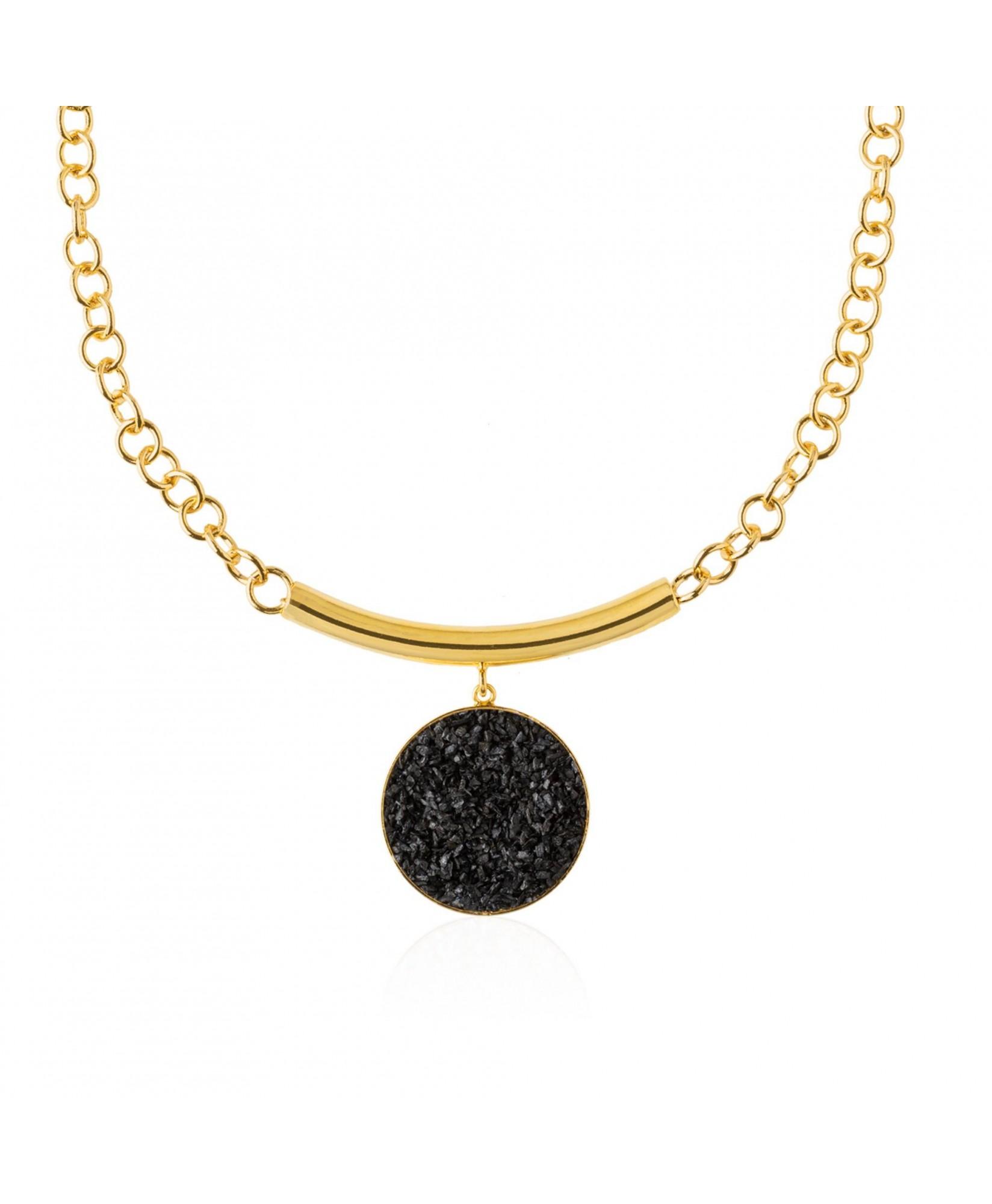 Collar oro y nácar negro Nix con colgante Collar oro y nácar negro Nix con colgante