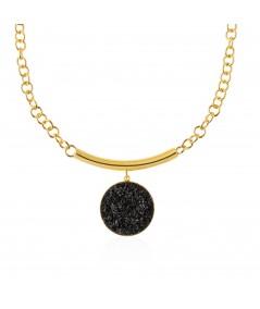 Collar oro y nácar negro Nix con colgante
