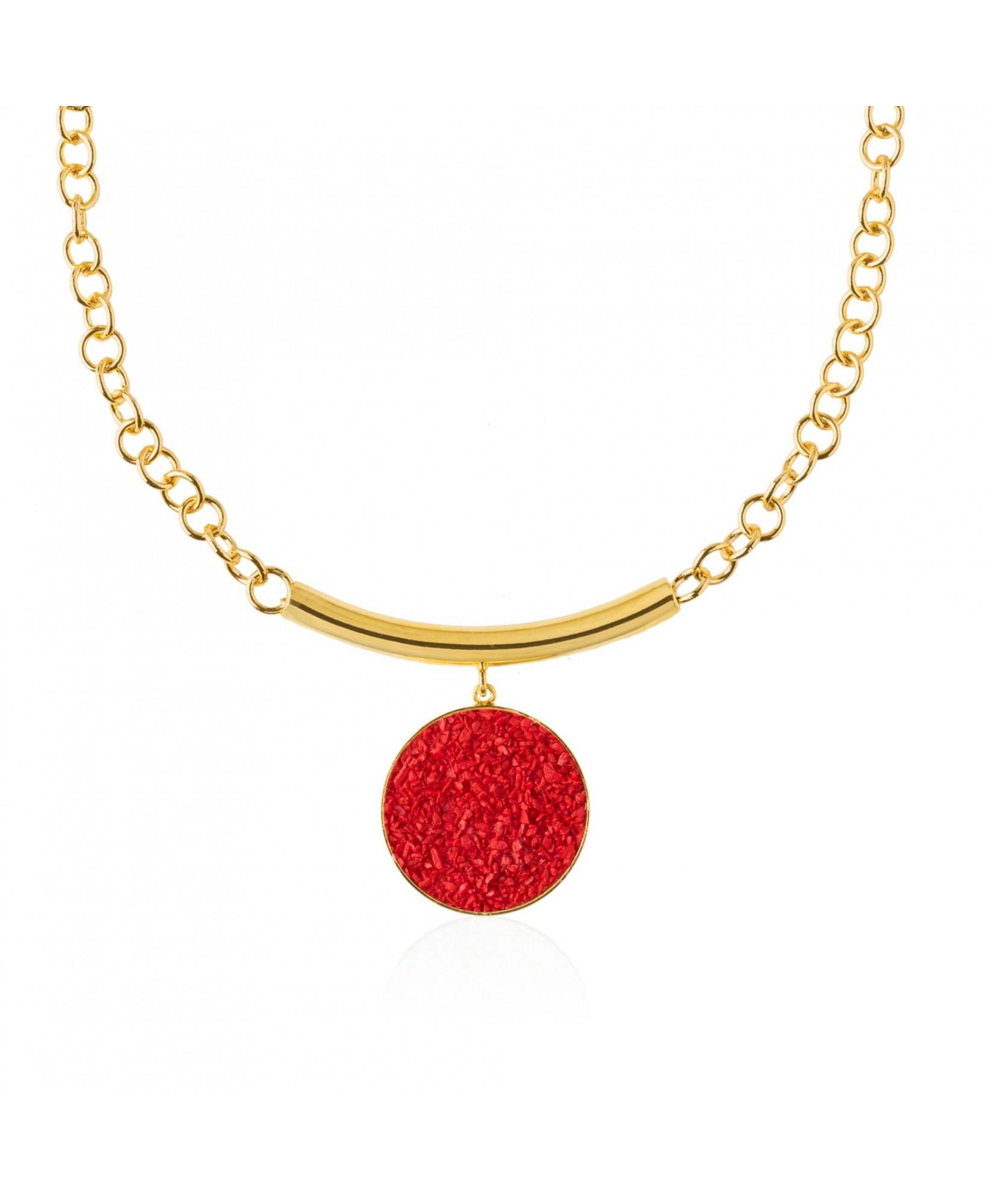 Collar oro con colgante Estia y nácar rojo Collar oro con colgante Estia y nácar rojo