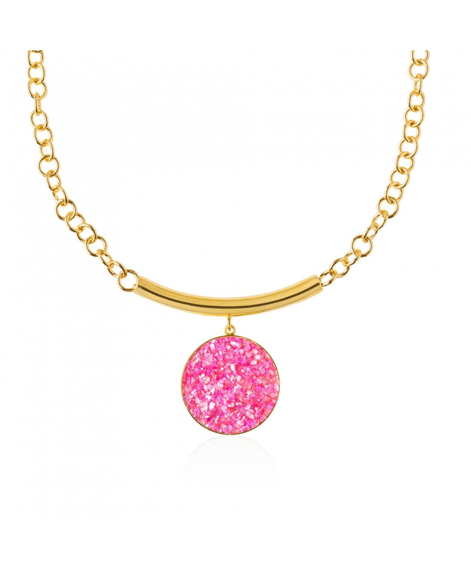 Collar oro con colgante Atenea con nácar rosa Collar oro con colgante Atenea con nácar rosa