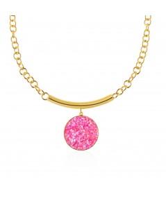 Collar oro con colgante Atenea con nácar rosa