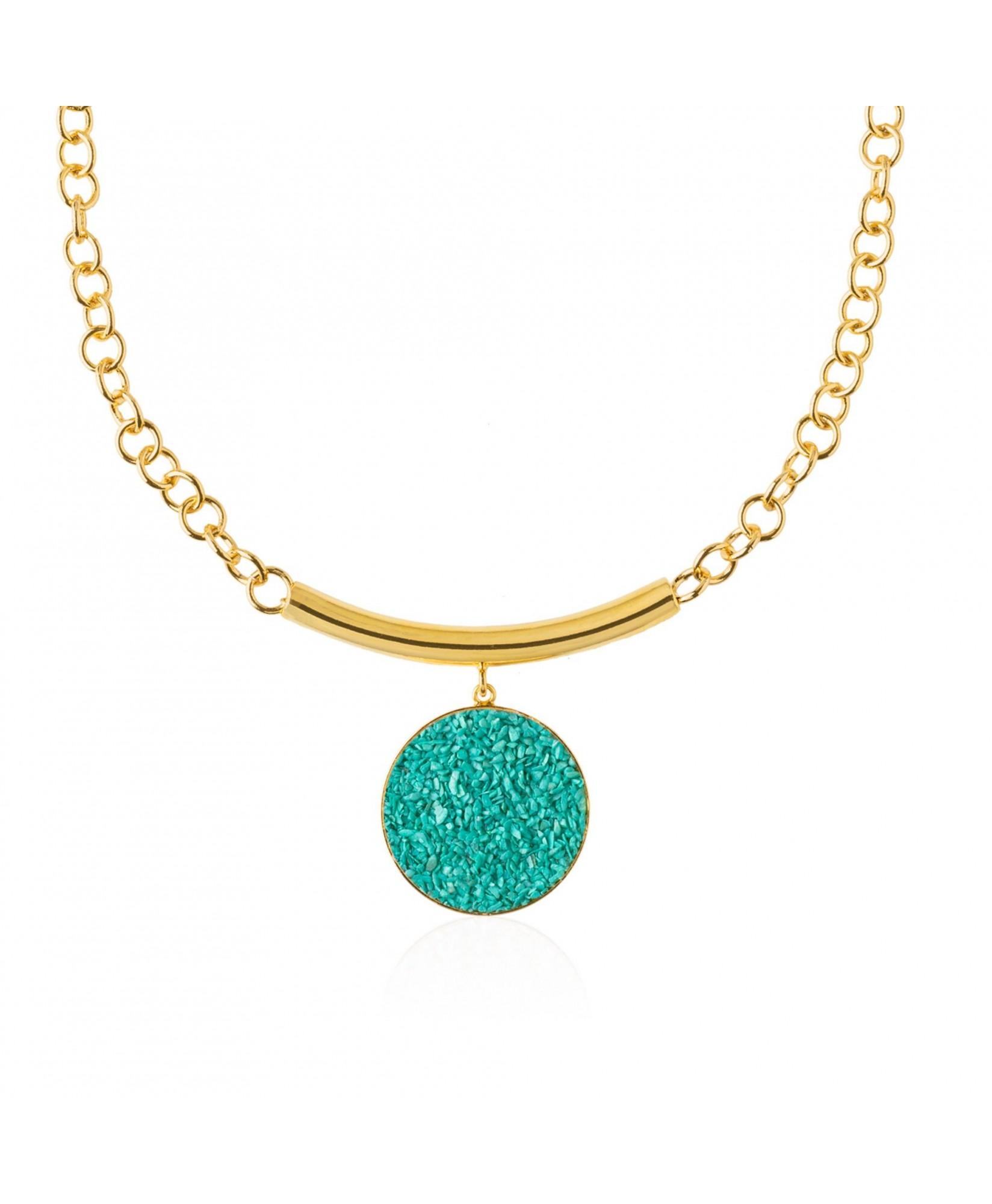 Collar oro con colgante de turquesa Anais Collar oro con colgante de turquesa Anais