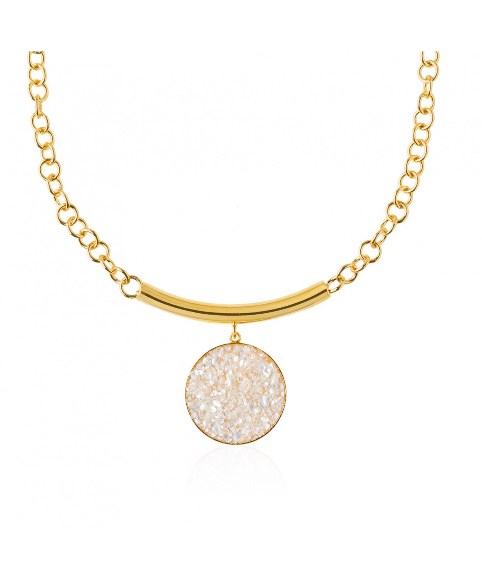 Collar oro Afrodita con colgante de nácar blanco Collar oro Afrodita con colgante de nácar blanco