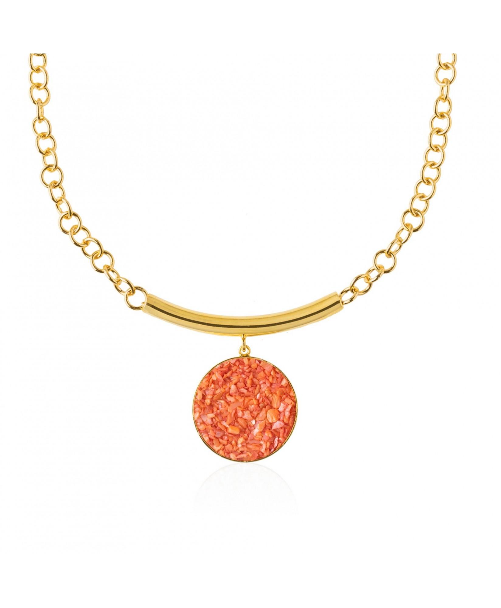 Collar oro con colgante nácar coral Isis Collar oro con colgante nácar coral Isis