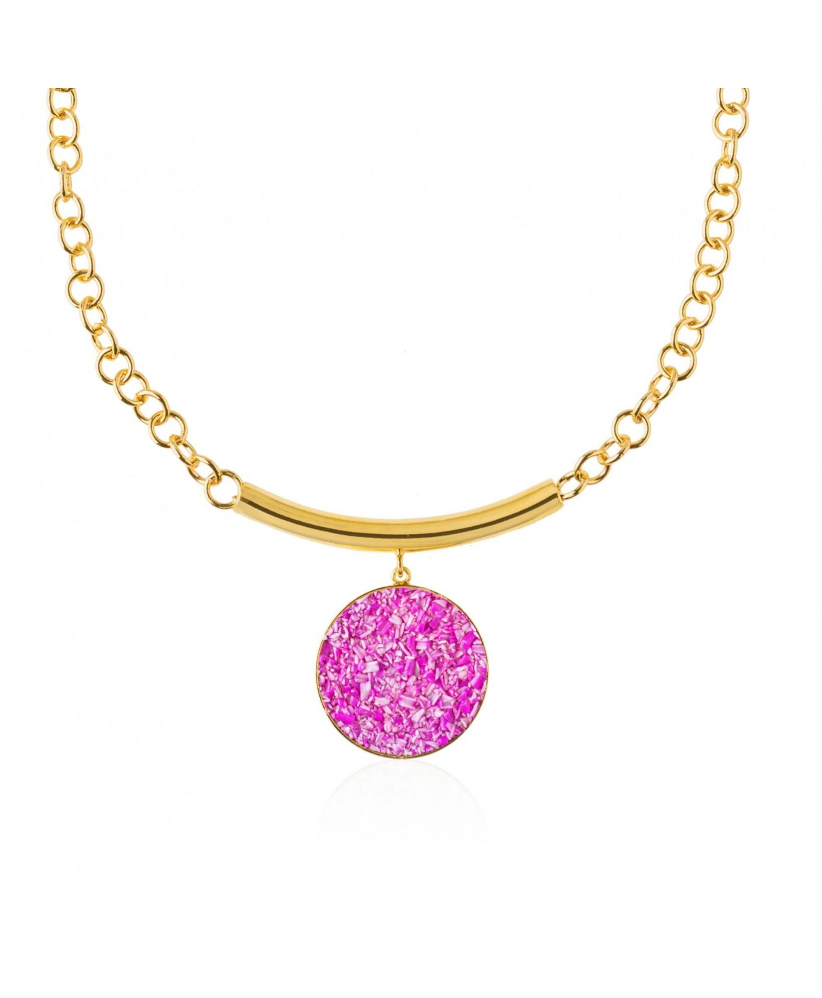 Collar oro Flora con nácar fuscia Collar oro Flora con nácar fuscia