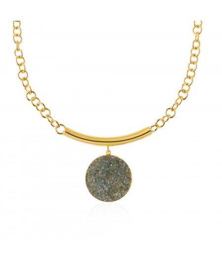 Collar oro con colgante de nácar gris Medusa