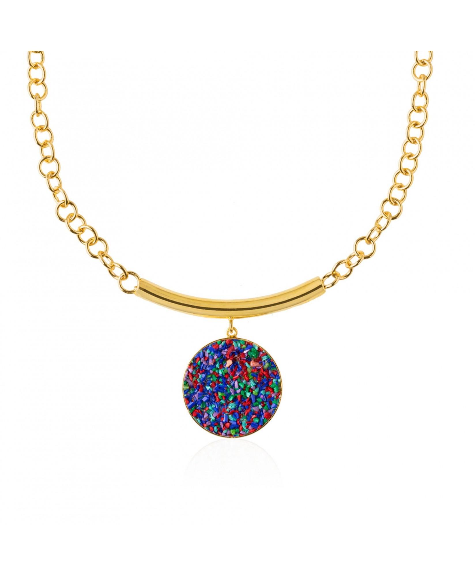 Collar oro con colgante Iris y nácar multicolor Collar oro con colgante Iris y nácar multicolor