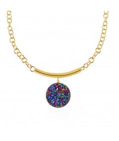 Collar oro con colgante Iris y nácar multicolor