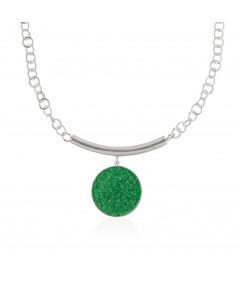 Collar de plata Demeter con colgante de nácar verde