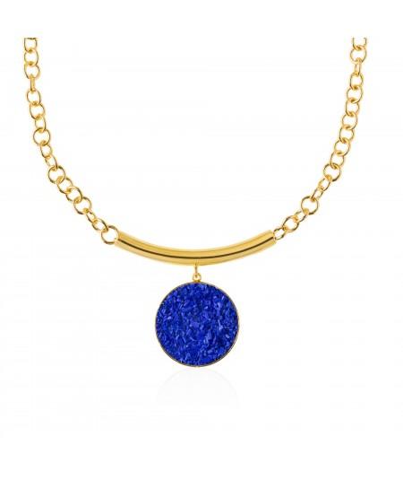 Collar oro con colgante de nácar azul Selene