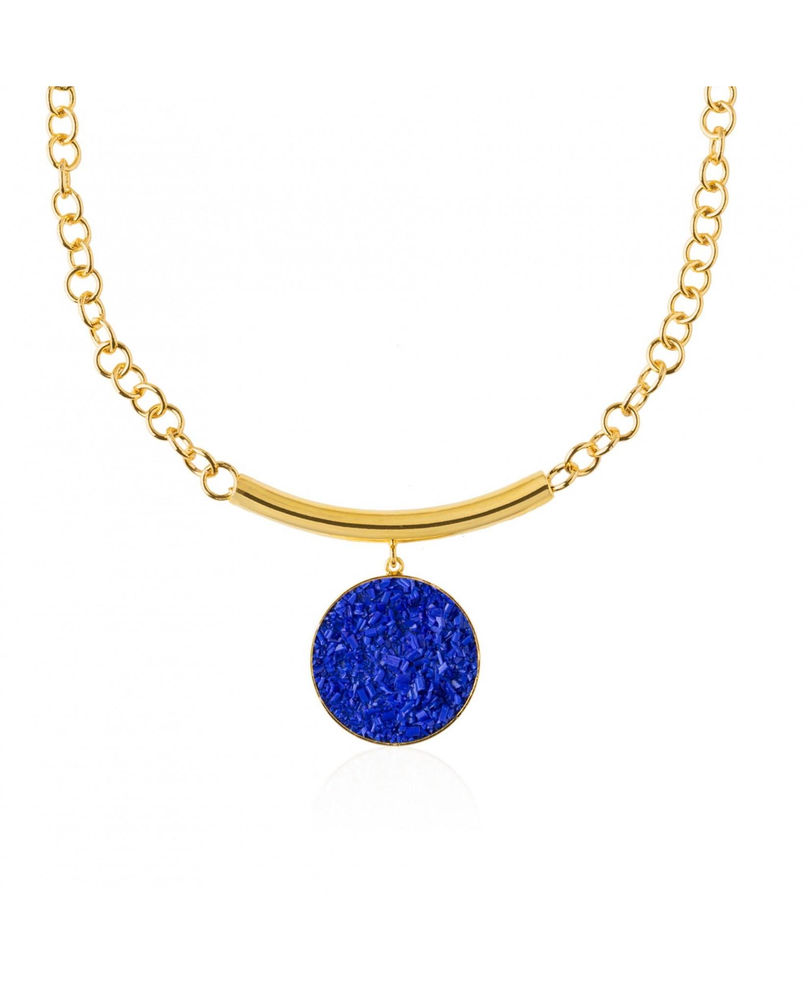 Collar oro con colgante de nácar azul Selene Collar oro con colgante de nácar azul Selene