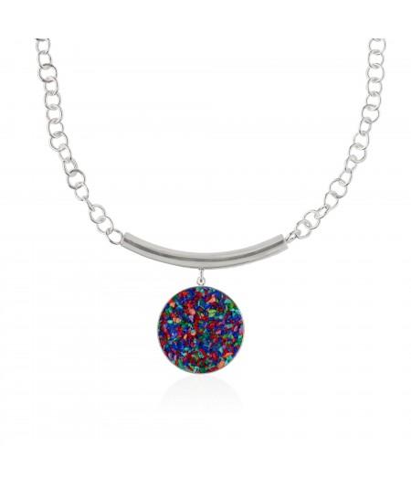 Collar plata Iris con nácar multicolor