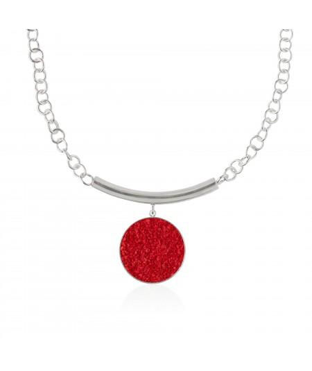 Collar de plata y nácar rojo Estia con colgante