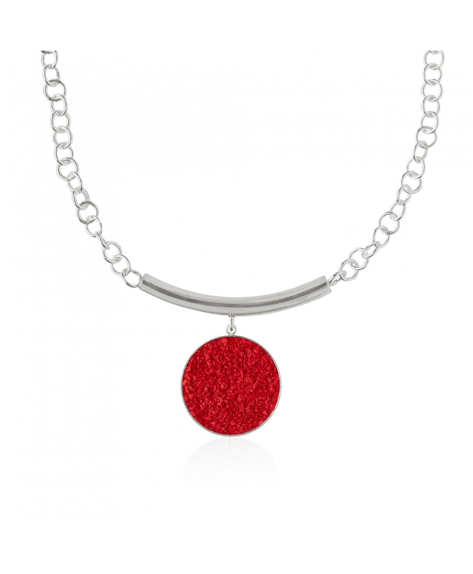 Collar de plata y nácar rojo Estia con colgante Collar de plata y nácar rojo Estia con colgante