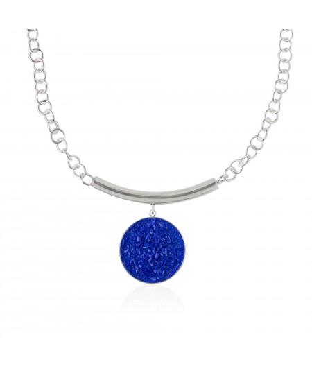 Collar plata Selene con colgante de nácar azul