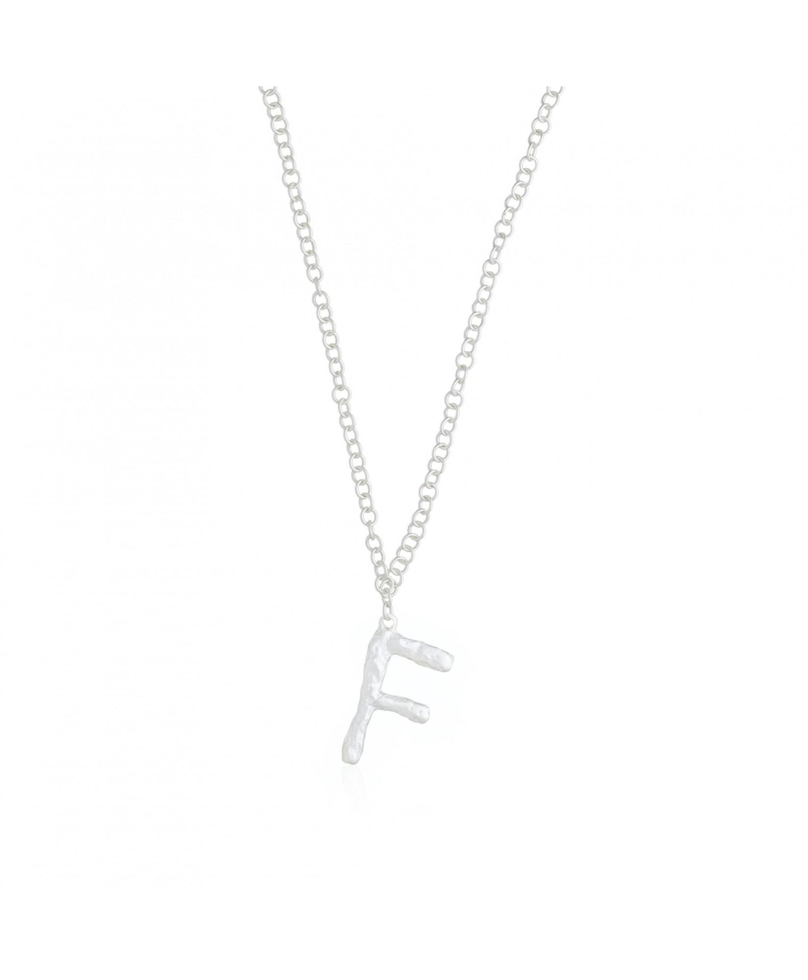 Collar con colgante con inicial F plata Collar con colgante con inicial F plata
