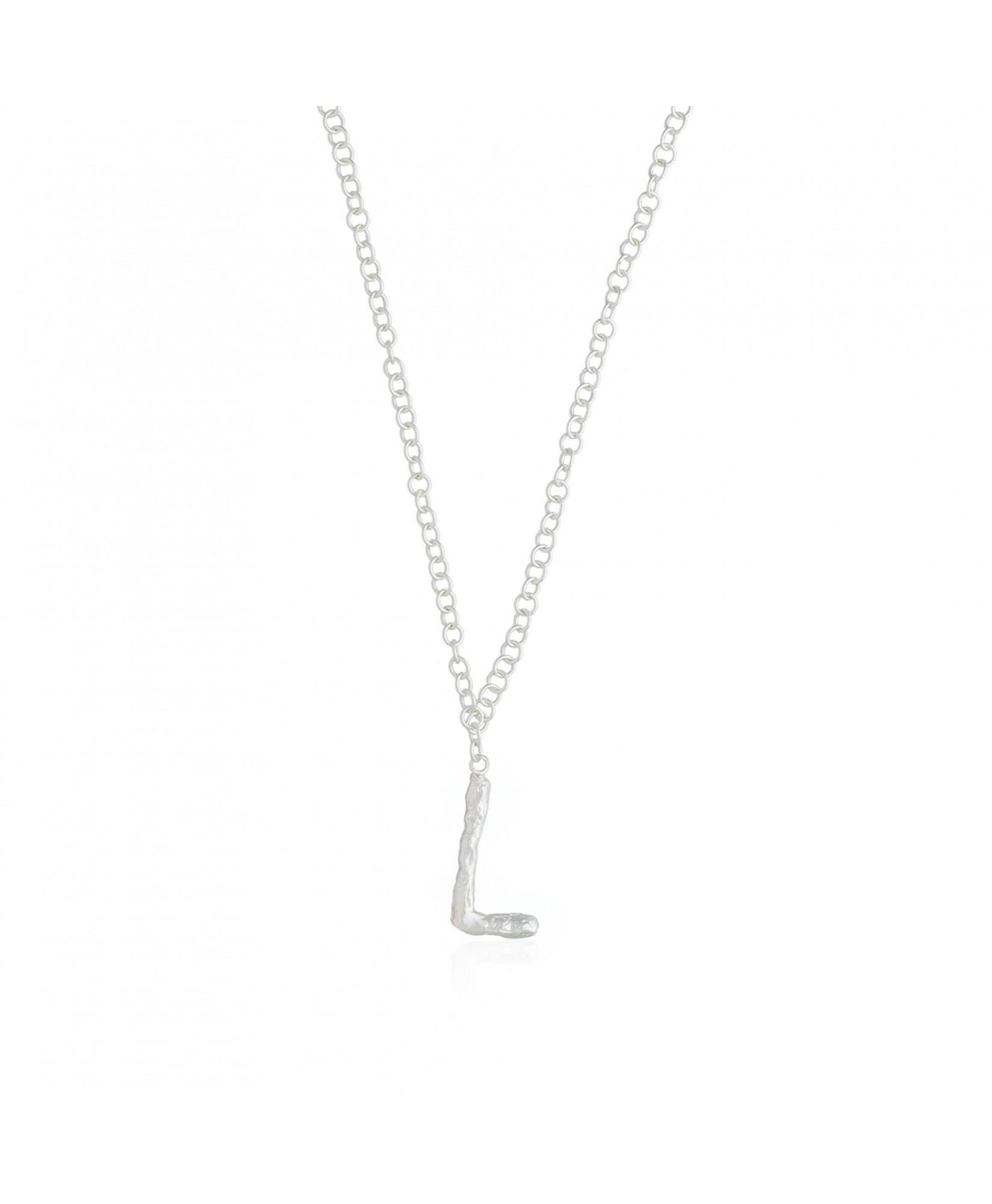 Collar colgante inicial plata L Collar colgante inicial plata L