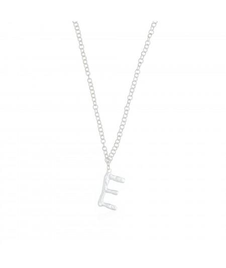 Collar plata con letra E para colgante