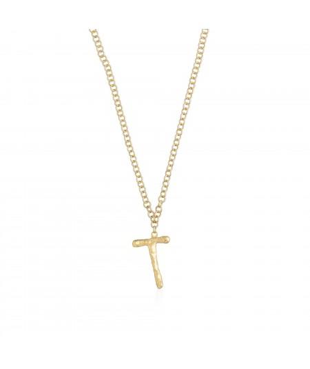 Collar letra T oro