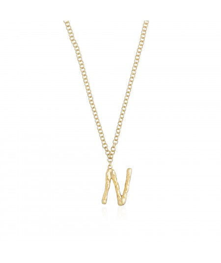 Collar con letra inicial oro N