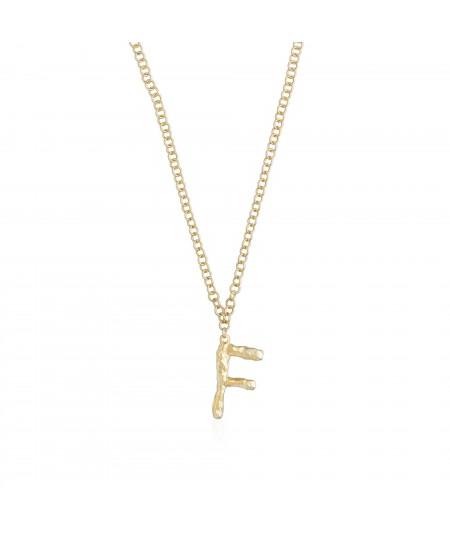 Collar con inicial oro letra F
