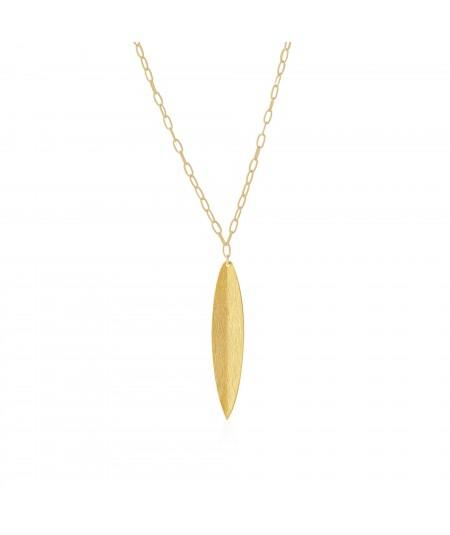 Collar oro con colgante hoja Naturaleza