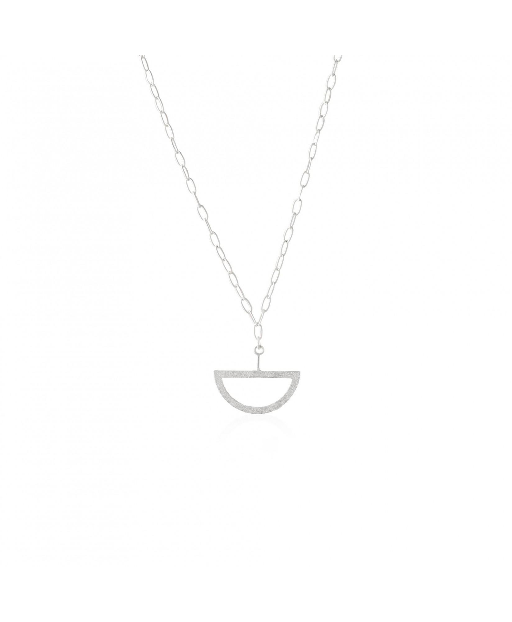 Collar de plata con colgante semicircular Balancín Collar de plata con colgante semicircular Balancín