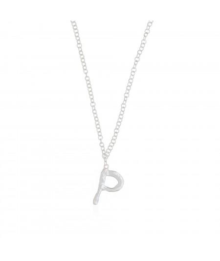 Collar plata letra P