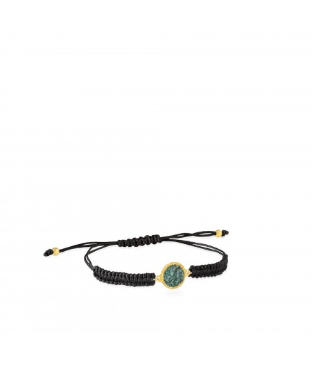 Pulsera oro y cordón Caribe con nácar color aguamarina