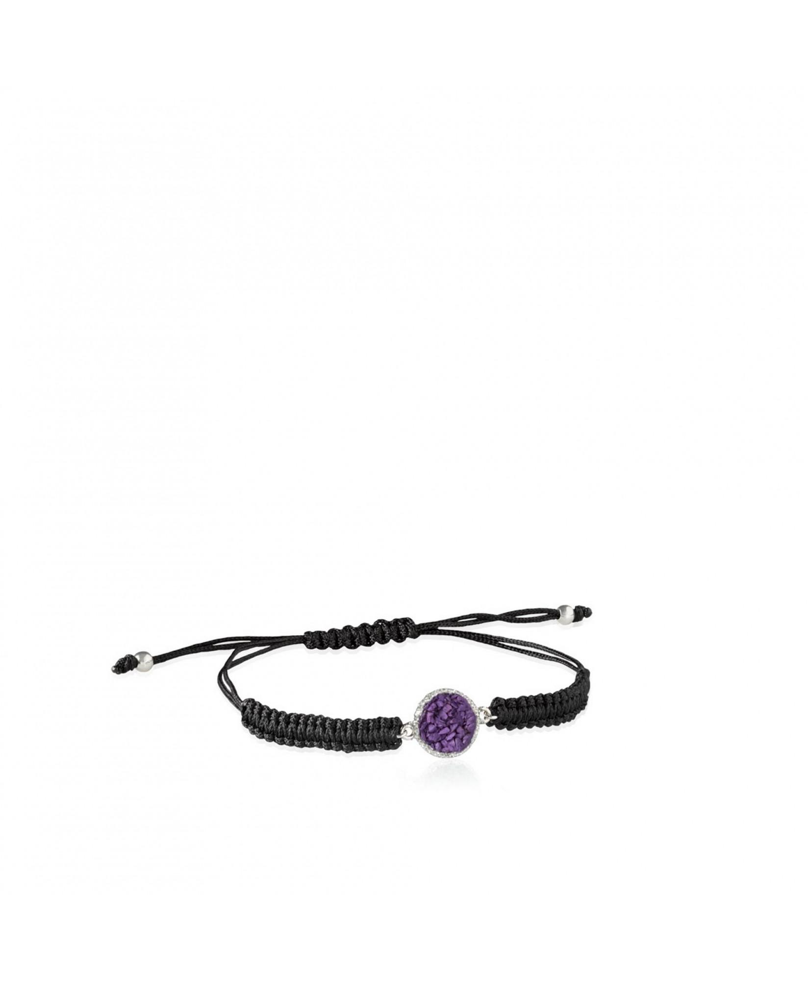 Pulsera cordón plata mujer Venus con nácar violeta