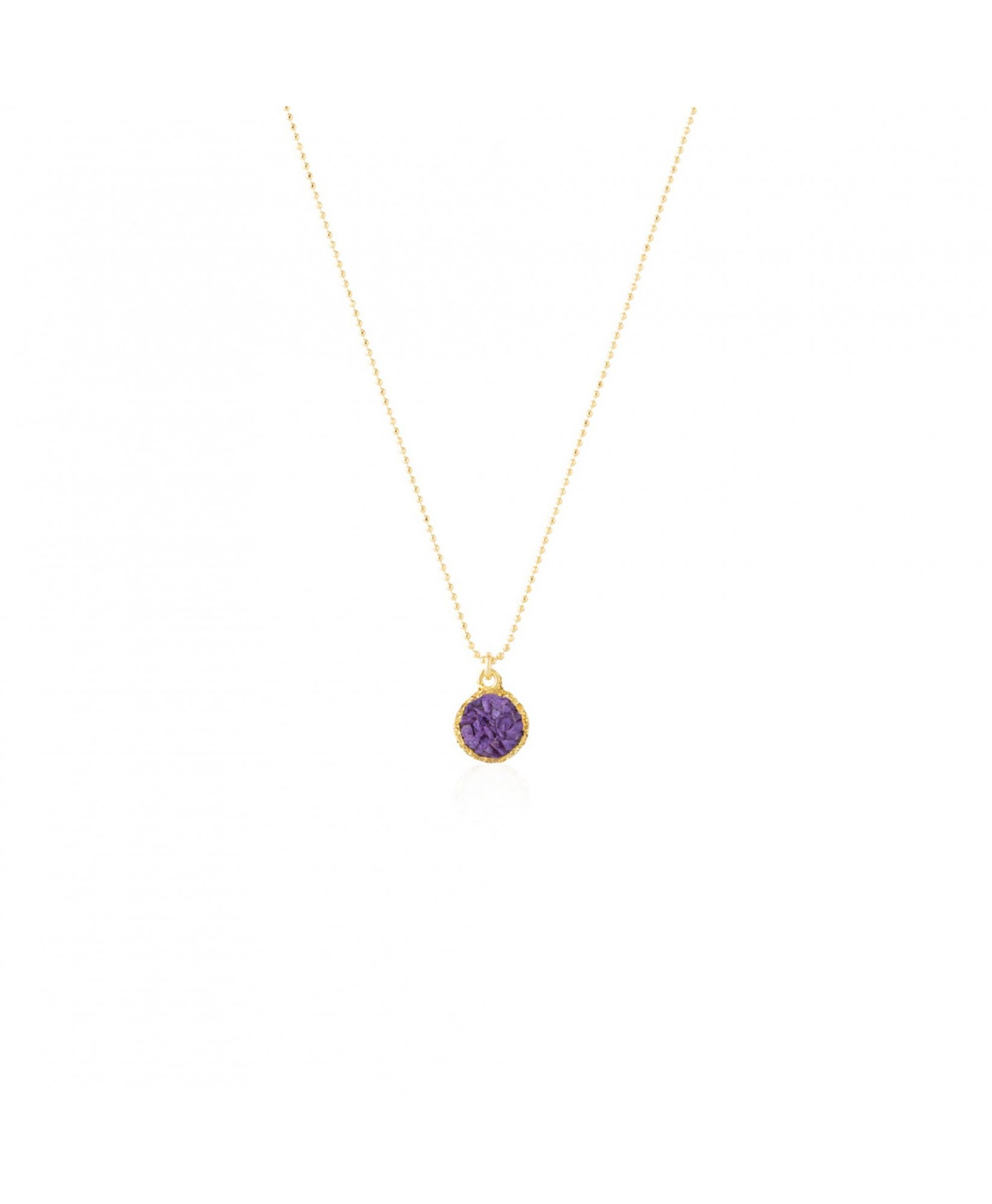 Gargantilla oro colgante redondo Venus con nácar violeta Gargantilla oro colgante redondo Venus con nácar violeta