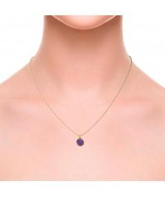 Gargantilla oro colgante redondo Venus con nácar violeta