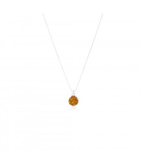 Gargantilla plata colgante redondo Sand con nácar color mostaza