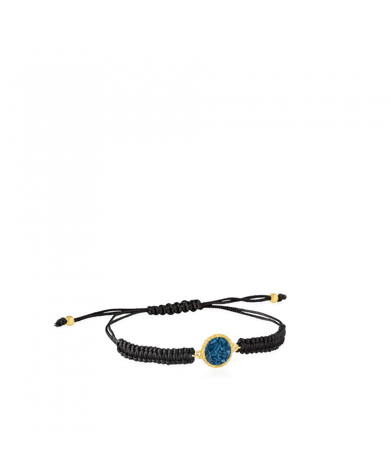 Pulsera oro y cordón Sky con nácar azul ducado Pulsera oro y cordón Sky con nácar azul ducado