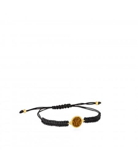Pulsera cordón mujer y oro Sand con nácar color mostaza
