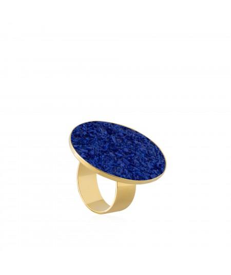 Anillo oro Selene con nácar azul