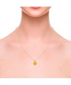 Gargantilla oro con colgante redondo Sun con nácar amarillo