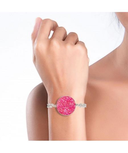 Pulsera de plata Atenea con nácar rosa