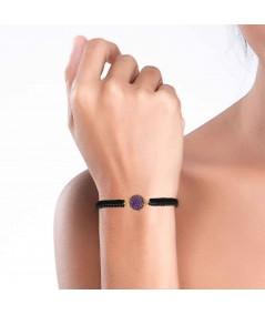 Pulsera oro y cordón Venus con nácar violeta