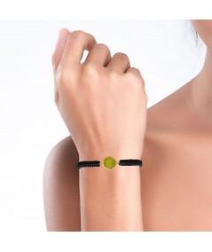 Pulsera de cordón y oro Olivine con piedra verde olivina