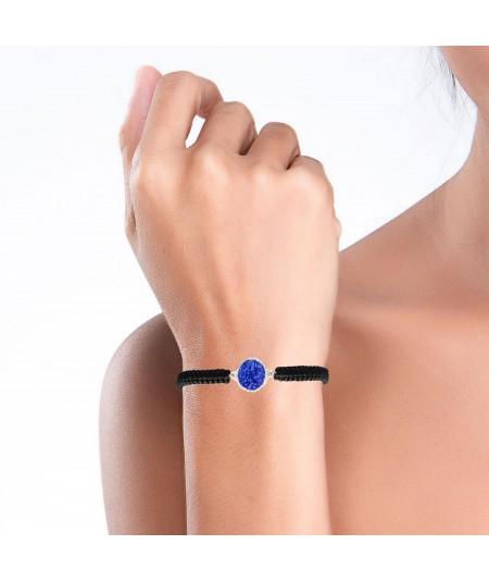 Pulsera de plata y cordón Klein con nácar azul