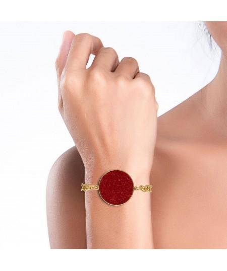 Pulsera oro Estia con nácar rojo