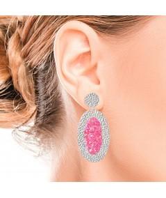 Pendientes de plata ovalados Atenea con nácar rosa