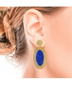Pendientes ovalados oro Selene con nácar azul